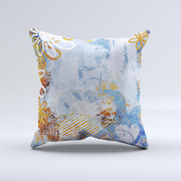 Retro Vintage Floral Pattern Ink-Fuzed Decorative Throw Pillow