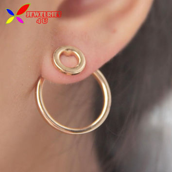 2015 Geo Earrings Fashion Designer Gold Silver Black Alloy Double Circle Back Front Stud Earring For Women bijoux brincos