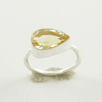 Lemon Quartz Sterling Silver Ring