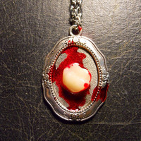 Bloody Tooth Acrylic Vintage Human Tooth Red Cameo Necklaceoo