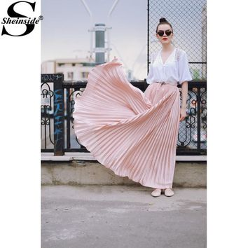 Sheinside Pleated Maxi Skirt Womens Hight Waist Fashion Designer Elegant Ladies Elastic Waist Beach Maxi Skirt