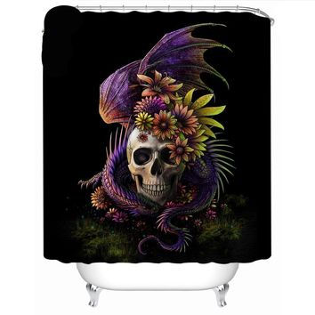 Flowery Skull Shower Curtain Gothic 3D Waterproof With Hooks 180x180cm