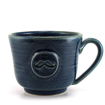 Mustache Mug, Blue Moustache Coffee Mug, Unique Handmade Pottery Gift for Men by MiriHardyPottery