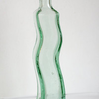 "Tall Curvy Green Glass 9"" Bottle With Cork. Supplies."