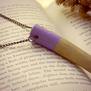 Hand Painted Lavender Real Natural Shed Deer Antler Tip Necklace//Taxidermy