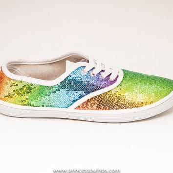 Sequin Rainbow CVO Multi Color Custom Canvas Sneakers Shoes