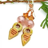Talhakimt Tribal Boho Earrings, Pink Lampwork Handmade Jewelry Gift