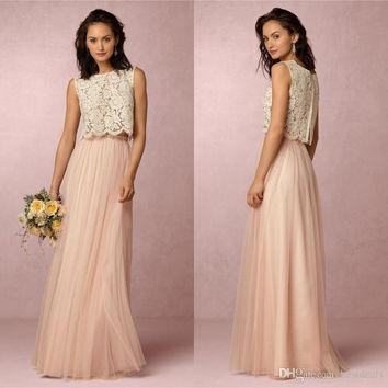 Cheap 2017 Vintage Blush Pink Two Pieces Lace Bridesmaid Dress Tulle Floor Length Maid Of Honor Gowns Wedding Guest Dress BD241