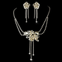 Couture Freshwater Pearl and Rhinestone Bridal Jewelry Set