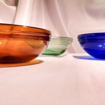 Set of 3 Hand Blown Glass Spectrum Bowls