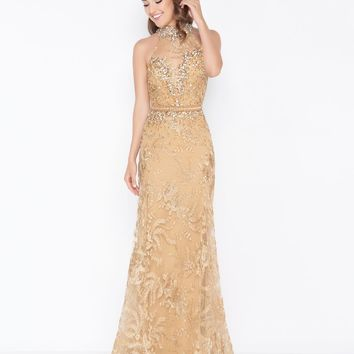 Mac Duggal - 66461M Shimmering Sheer Fitted Lace Illusion Gown
