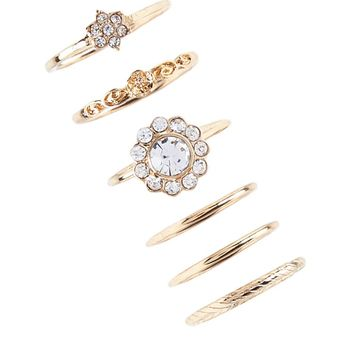 Rhinestone Stackable Ring Set
