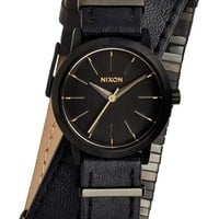 Women's Nixon 'The Kenzi' Metal Detail Wrap Leather Strap Watch, 26mm