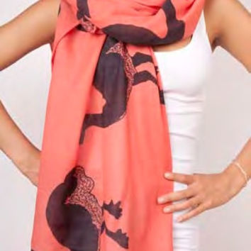 Ostriches Extra Long Wool Scarf in Persimmon design by Thomas Paul