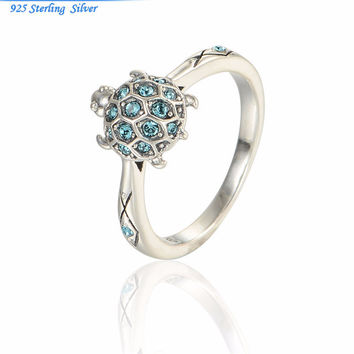 Women's Crystal Turtle 925 Sterling Silver Animal Rings Gift