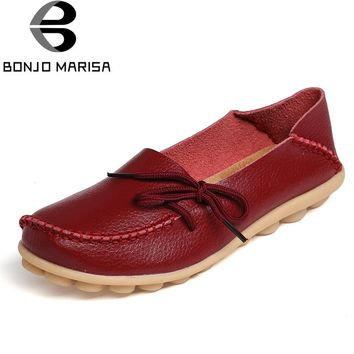BONJOMARISA Women Genuine Leather Flat Shoes Woman Slip On Loafers Comfy Ballet Shoes Female Moccasins Big Size 34-44