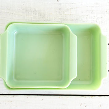 Fire King Jadeite Square Baking Dish // Set Of Two