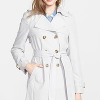 Petite Women's DKNY 'Darcy' Drape Double Breasted Trench Coat