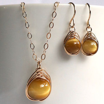 Honey Tiger Eye Herringbone Jewelry Set, Gold Filled Jewelry, Anniversary Gift for Her