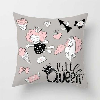Cute Pink Unicorn Pillow Case Soft Plush Princess Queen Girls Smile Kiss Love Cushion Cover For Birthday Party Decorations Kids