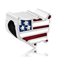 Pugster Patriotic Proud To Be American Flag Country Us Map Bead Fits Pandora Charm Bracelet (Canada Map)