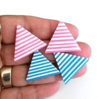 Vtg 2 Pairs Striped Laminated Layered Lucite Triangle Pierced Earrings Pink Blue