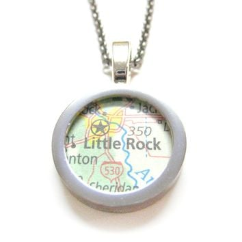 Little Rock Arkansas Map Pendant Necklace