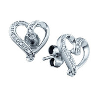 925 Sterling Silver 0.020 Ctw Diamond Micro Pave Heart Stud Earrings 1.06g: Earrings