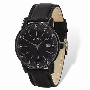 Mens Chisel Black IP-plated Stainless Silver Dial Black Leather Watch