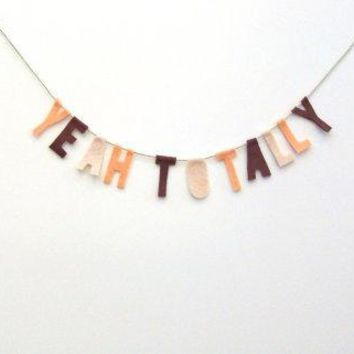 Yeah Totally 90s Felt Party Banner Room Banner In Maroon Dreamsicle & Light Pink