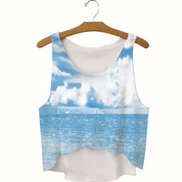 Summer Womens Sky Ocean Printed Slim Show Hilum Tank Top Sports Vest Gift - 37