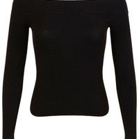 Black ribbed bardot - Tops - Apparel