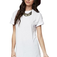 LA Hearts Front Slit Tunic T-Shirt - Womens Tee - White