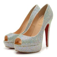 Christian Louboutin Fashion Edgy Sequin Diamond Red Sole Heels Shoes-2
