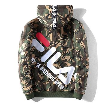 BAPE AAPE X FILA Popular Men Women Casual Print Hooded Zipper Cardigan Sweatshirt Jacket Coat Camouflage