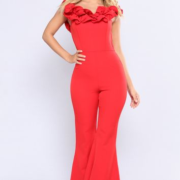 Caliente Ruffle Jumpsuit - Red