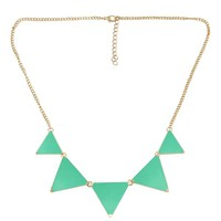 Womdee(TM) Fashion Triangle Collar Necklace Choker Punk Style Glaze Geometric Pendent-Green With Womdee Accessory Necklace