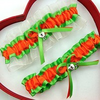 NEW Orange / Apple / White  Wedding Garter SELECT Single,Set,Reg+Size,Charm