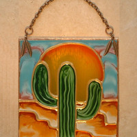 Desert Cactus Decor Stained Glass Panel or Night Light Southwestern Art Suncatcher Southwest Kitchen Decor Cactus Wall Hanging Decoration