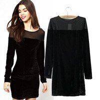 Mesh Accent Velvet Long Sleeve Bodycon Mini Dress