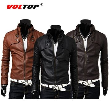 VOLTOP Motorcycle Jackets PU Leather Vintage Coat Casual Stand Collar Biker Knight Mens Jackets High Quality Slim Warm Clothes