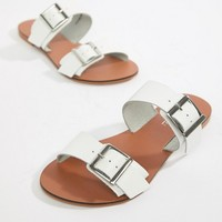 ASOS DESIGN Wide Fit Victorious leather buckle sliders at asos.com