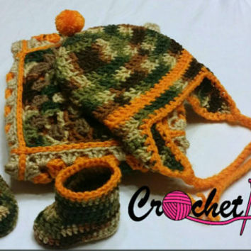 Crochet, baby boy, camouflage and orange, gift set, 3 piece, hat, bootie, blanket, hunter, baby shower gift, newborn, rustic, baby boy camo
