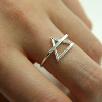 Sterling silver alchemical air/earth symbol ring
