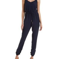 Blue Gold-Embellished Strappy Jumpsuit by Charlotte Russe