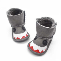 0-18 Months Kids Baby Boys Girls Snow Boots Shark Mouth Snowshoes Warm Crib Shoes TIML66