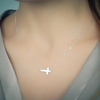"Sideways cross necklace, sterling silver cross necklace, cross pendant, bridesmaid necklace,  faith necklace, ""Sideways cross"""