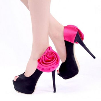 Fashion Round Peep Toe Flower Decorated Platform Stiletto Super High Heels Blue Satin Basic Pumps #889878