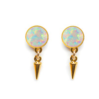 Florence Stud Earrings (opal cabochon)