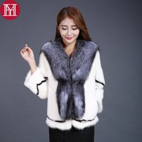 new style real natural mink fur coat with big fox fur collar 100% real mink fur jacket 2017 women winter warm mink fur outwear